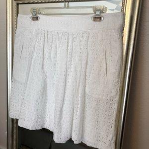 Cynthia Rowley Eyelet Pleated A-Line Skirt